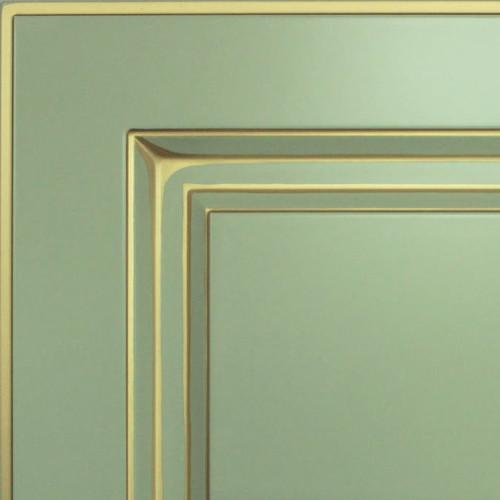Кухни Мария, Модель Nicolle, Цвет фасада Пастельно-мятный с золотой патиной